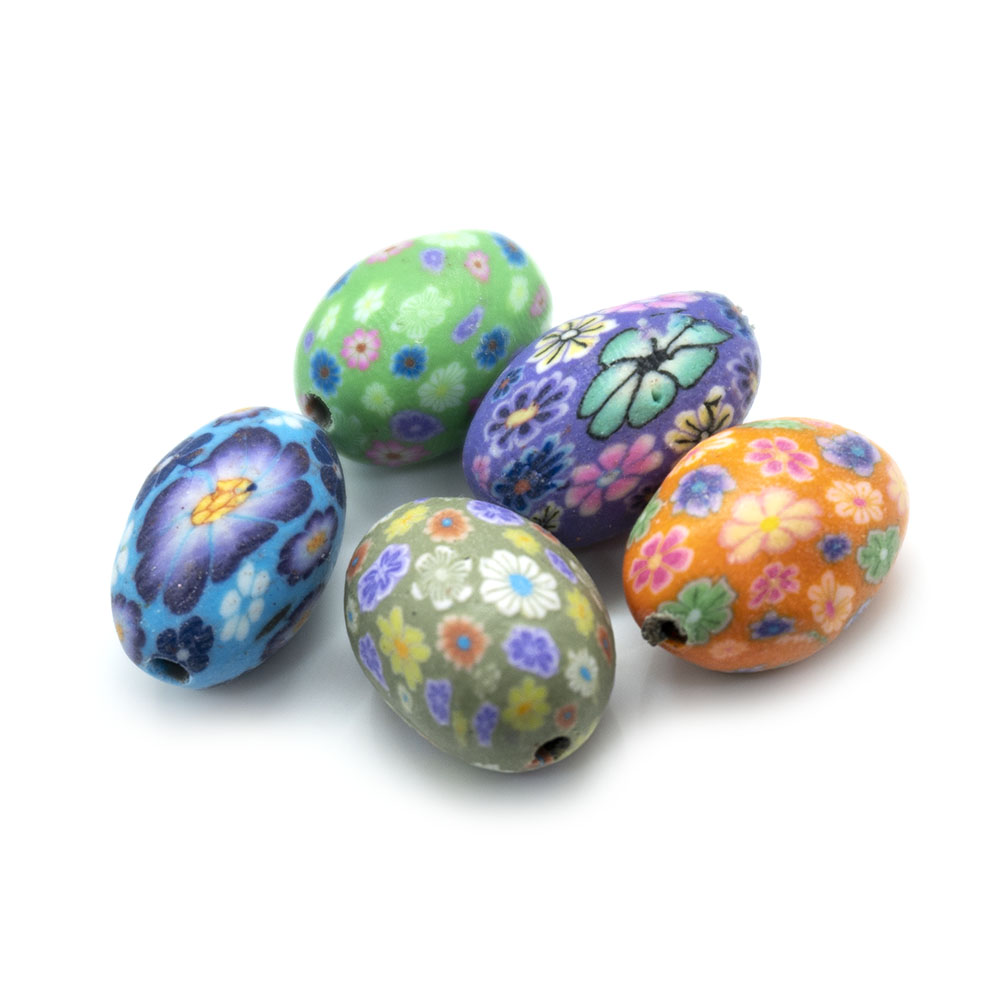 Multicoloured Polymer Clay Oval Beads - 15x10mm - 5pc