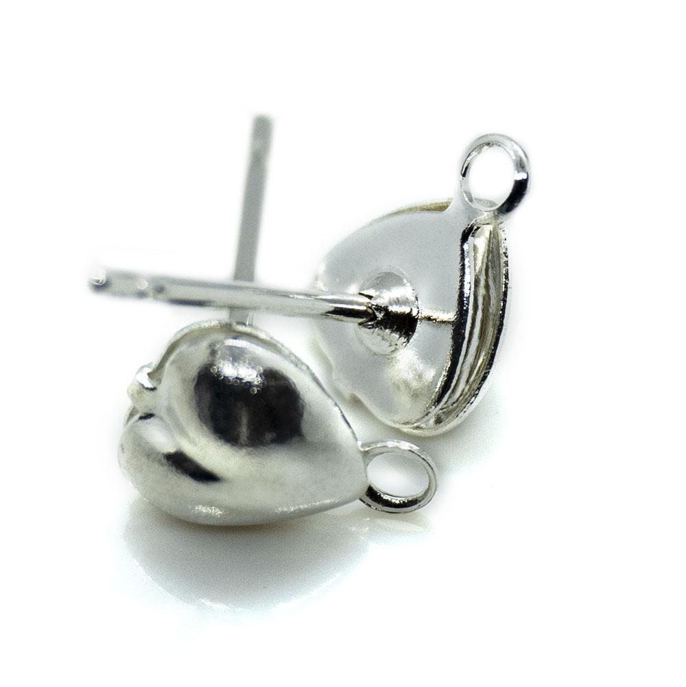 Heart Earring Stud Posts - 6mm - 1pr