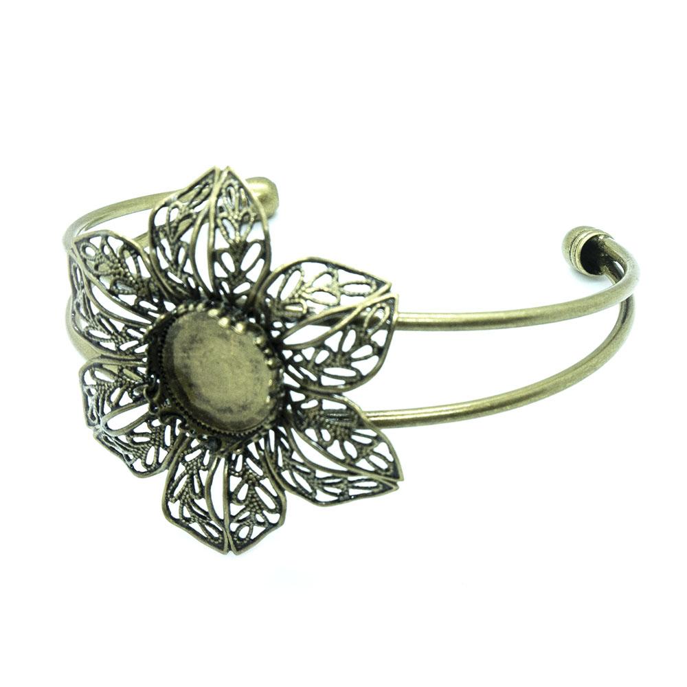 Brass Filigree Flower Cuff Bangle - 6.2cm - 1 set