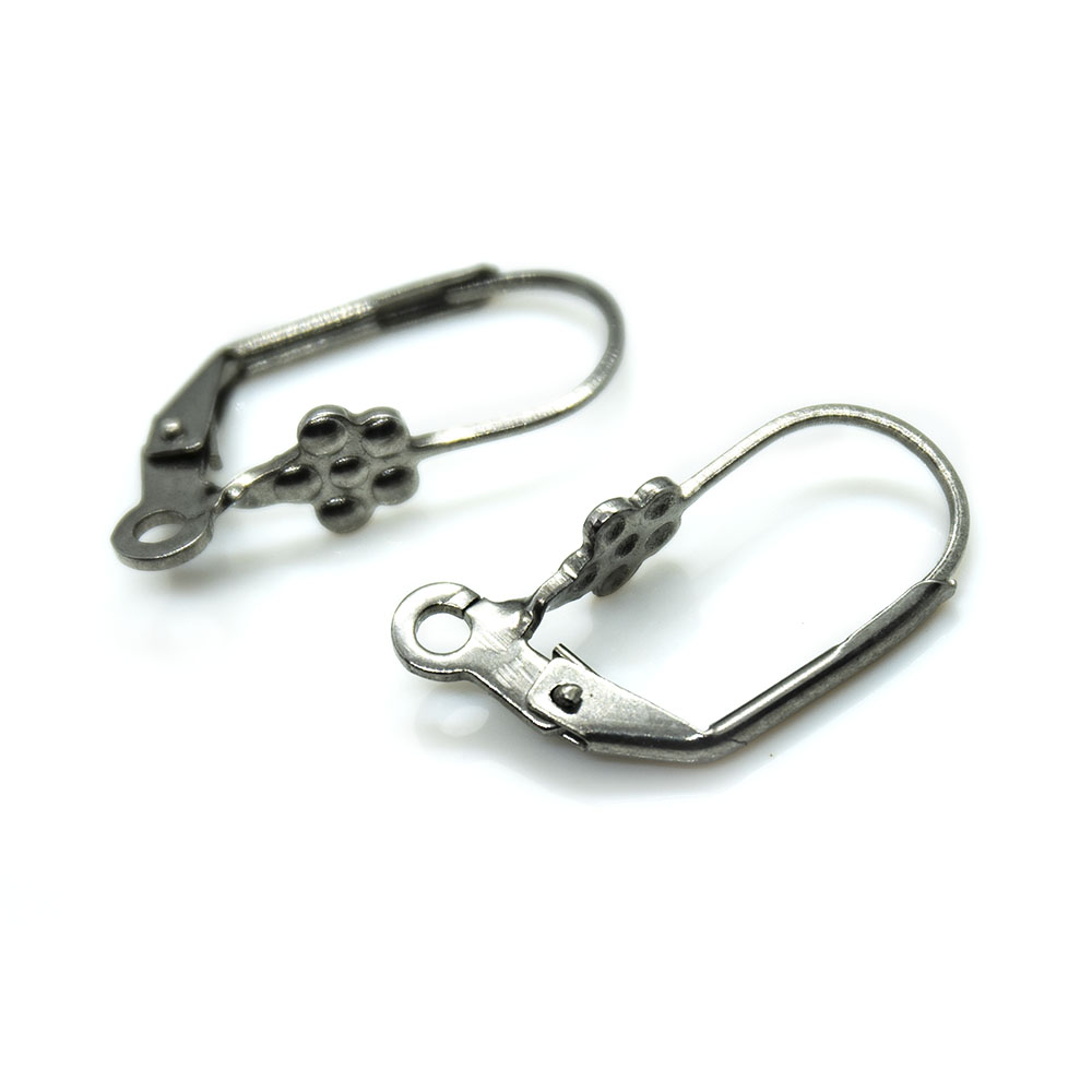 Stainless Steel Leverback Earwire with Flower 20mm x 10.5mm