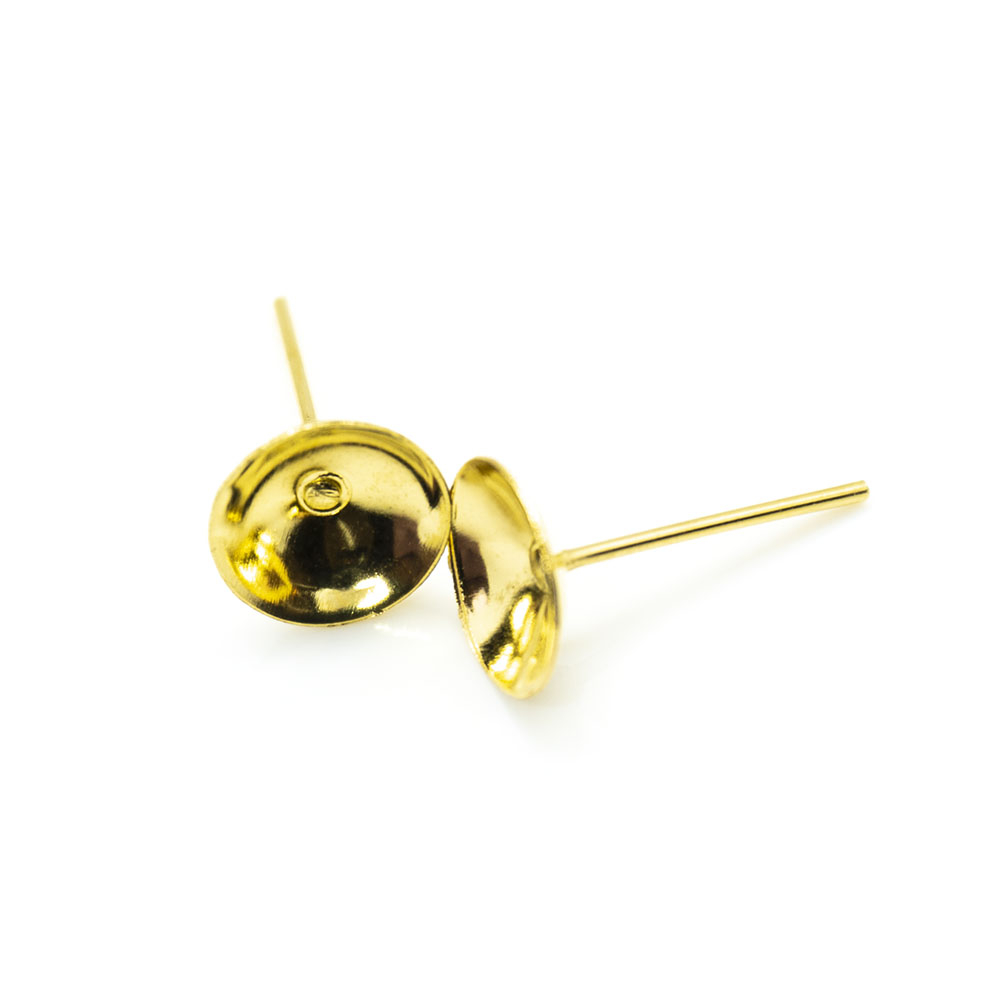 Earring Stud with Bowl Base - 8mm - 1pr