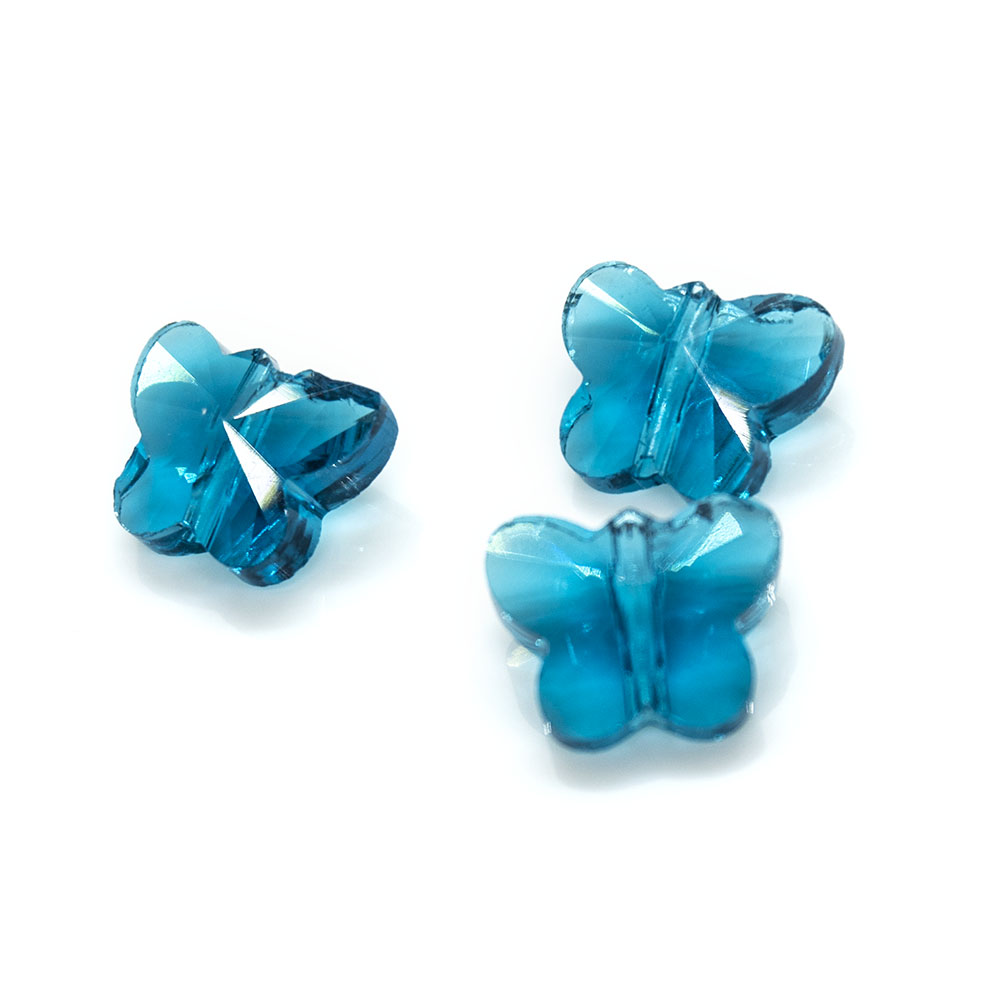 Transparent Faceted Glass Butterfly 10mm x 8mm x 6mm