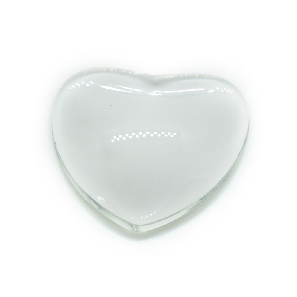 Transparent Glass Cabochons Heart Dome 24.5mm x 5mm