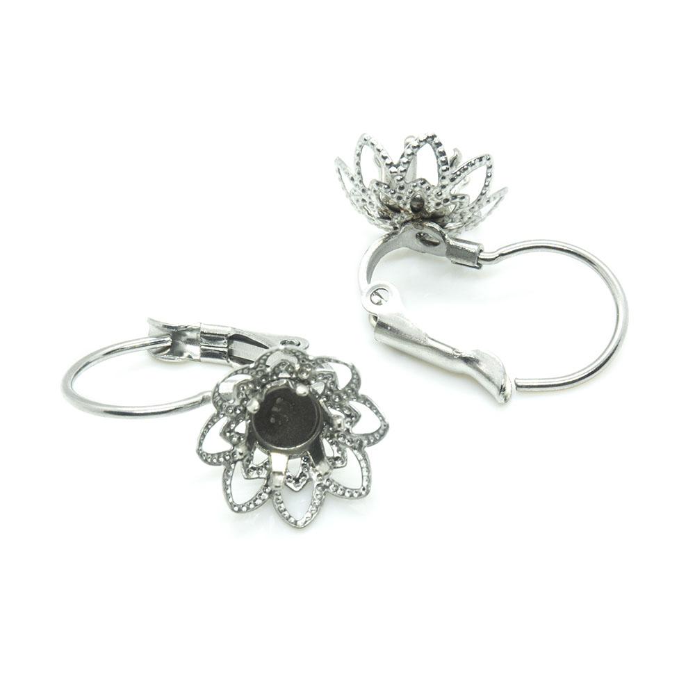 Stainless Steel Leverback Flower Earring Setting - 19x11.5x14.5mm - 1pr