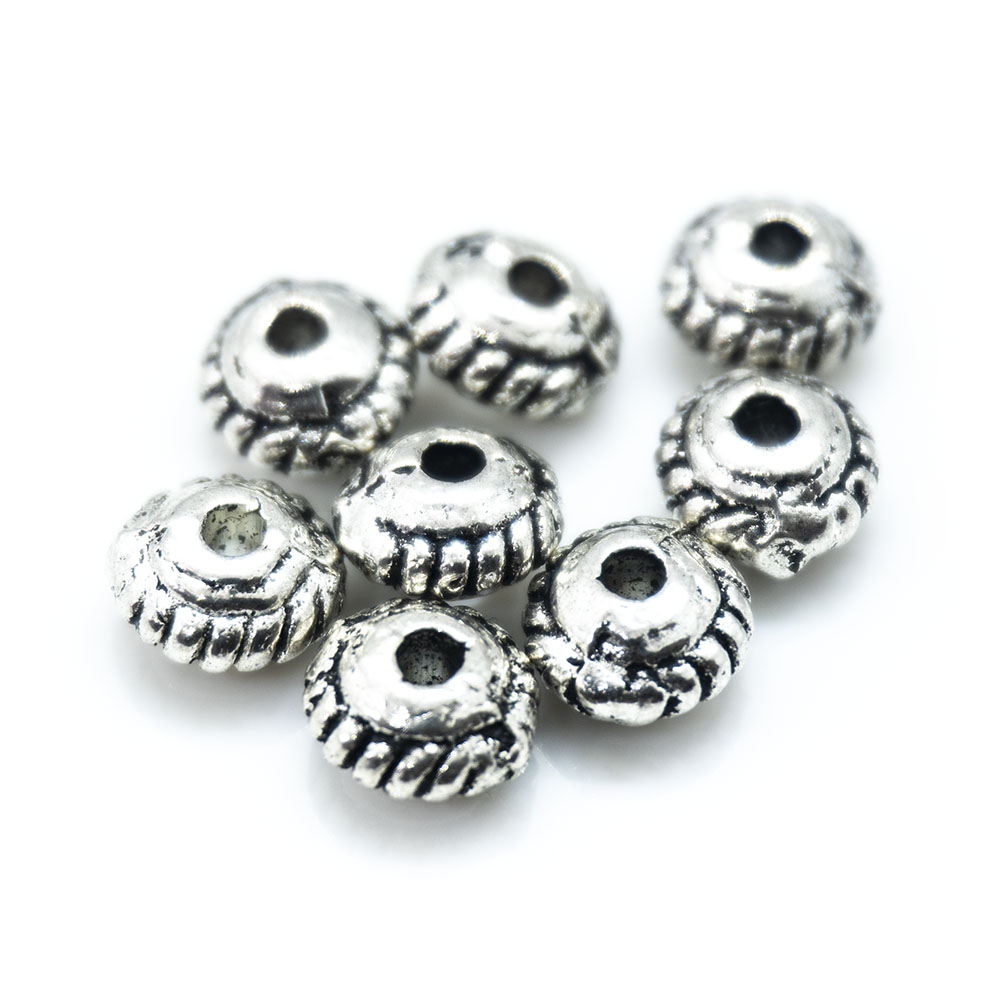 Tibetan Silver Rondelle 5mm x 3mm