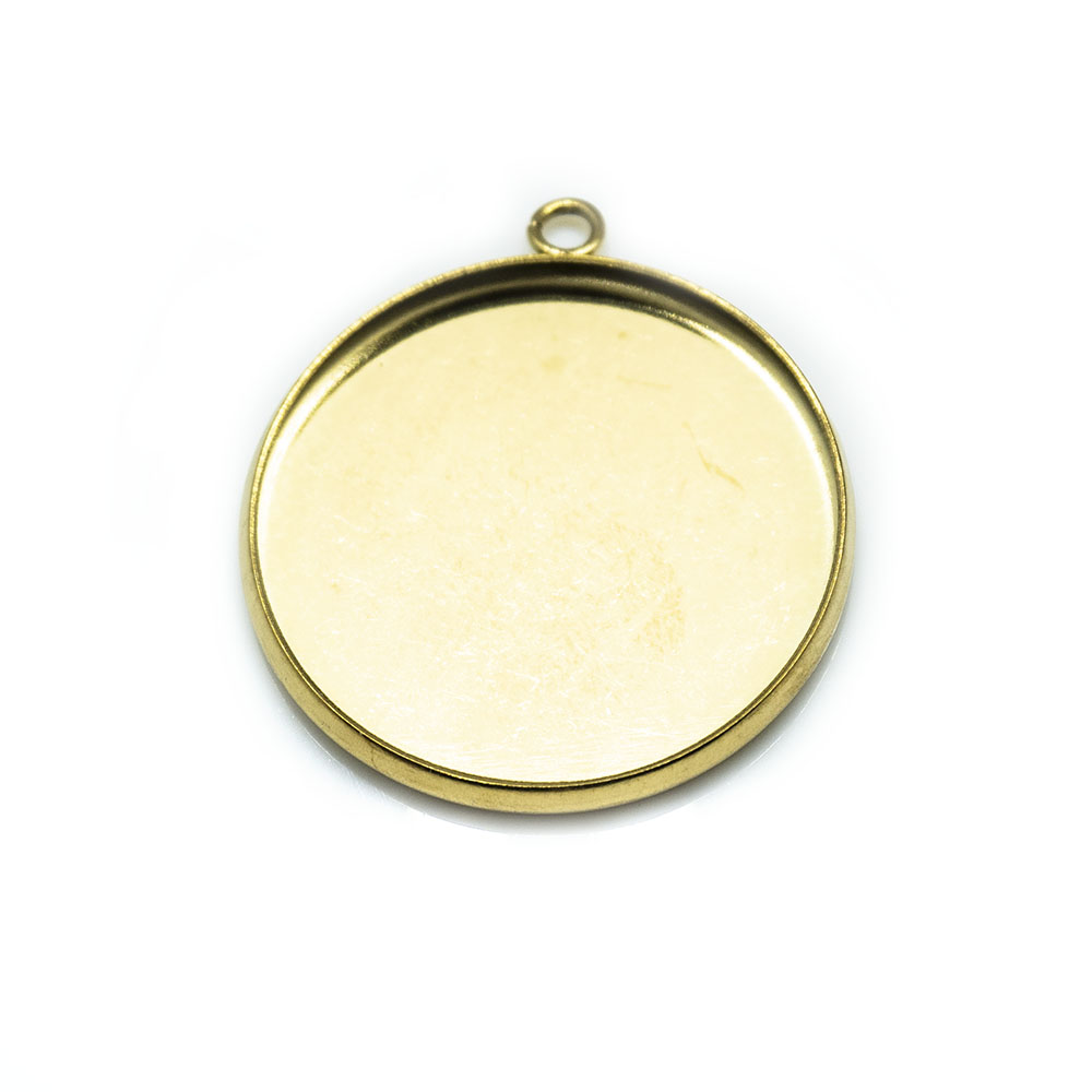 Stainless Steel Flat Pendant Cabochon Settings  24.5mm x 21.8mm x 2mm