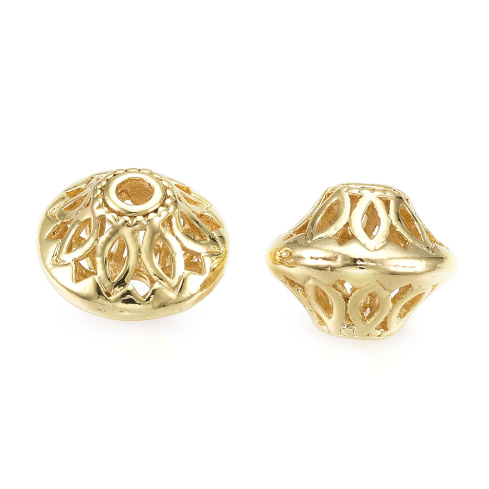 Brass Filigree Hollow Bicone, 18K Gold Plated 13mm x 10mm