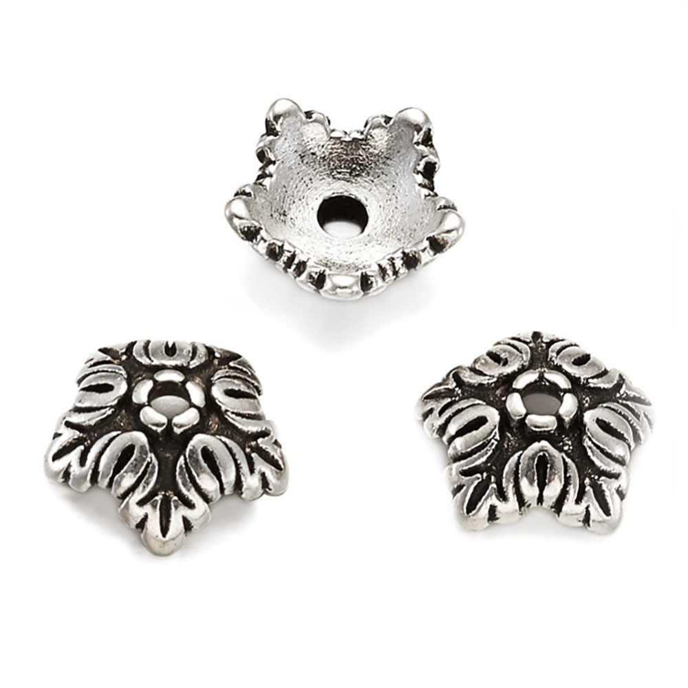 Tibetan Style 5-Petal Bead Caps 10mm x 4mm