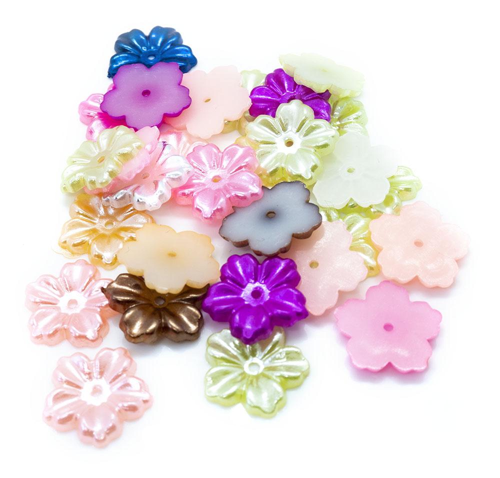 5-Petal Imitation Pearl Flower Bead Cap Mix 13mm x 12mm x 1.5mm
