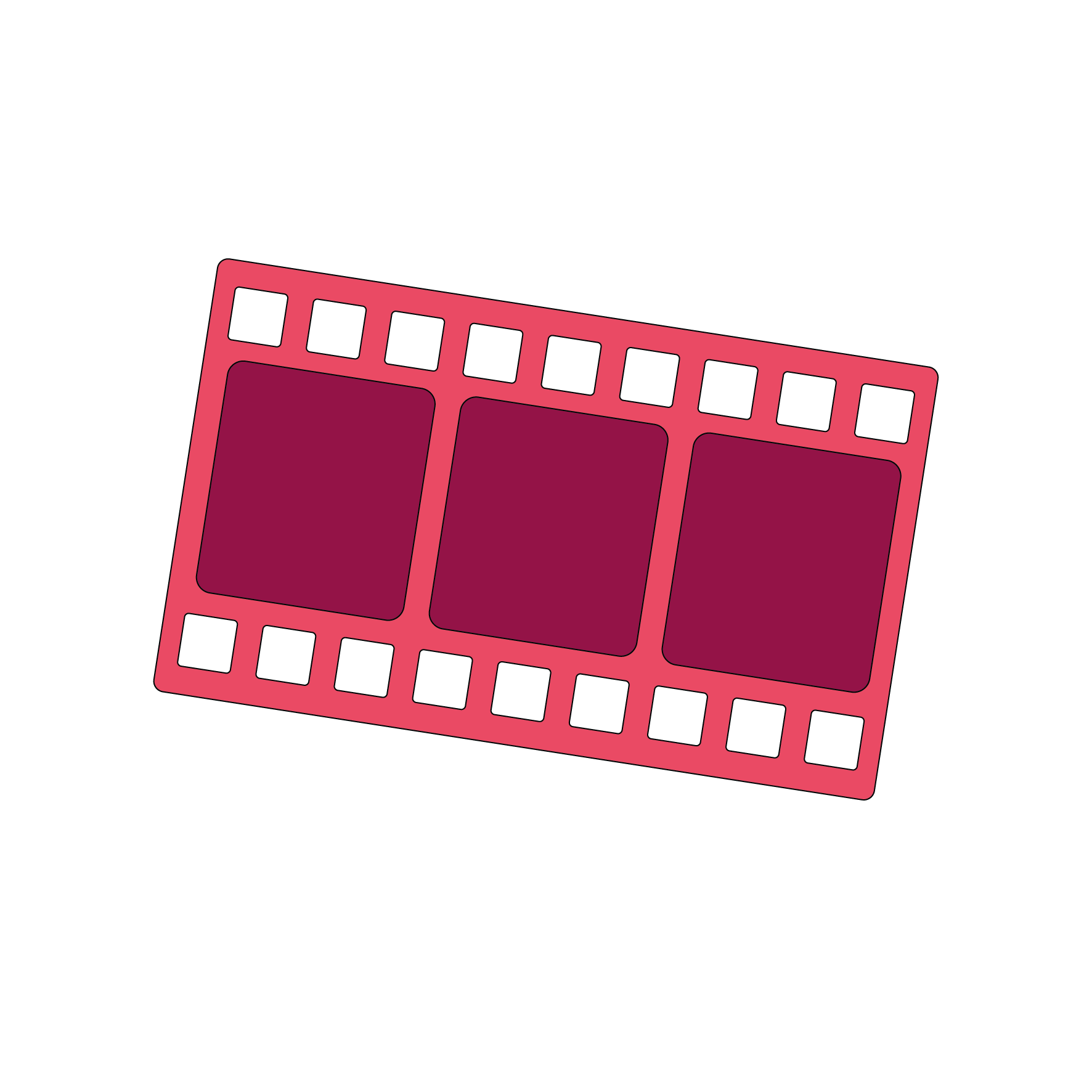 Icon depicting a strip of old negatives from a roll of film.