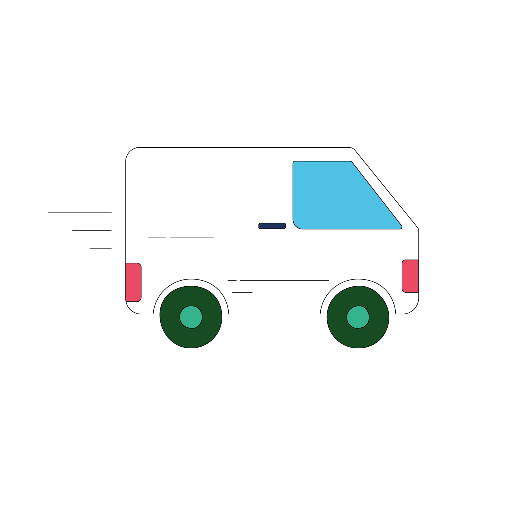 Icon depicting a van returning a customers' photos after they have been scanned.