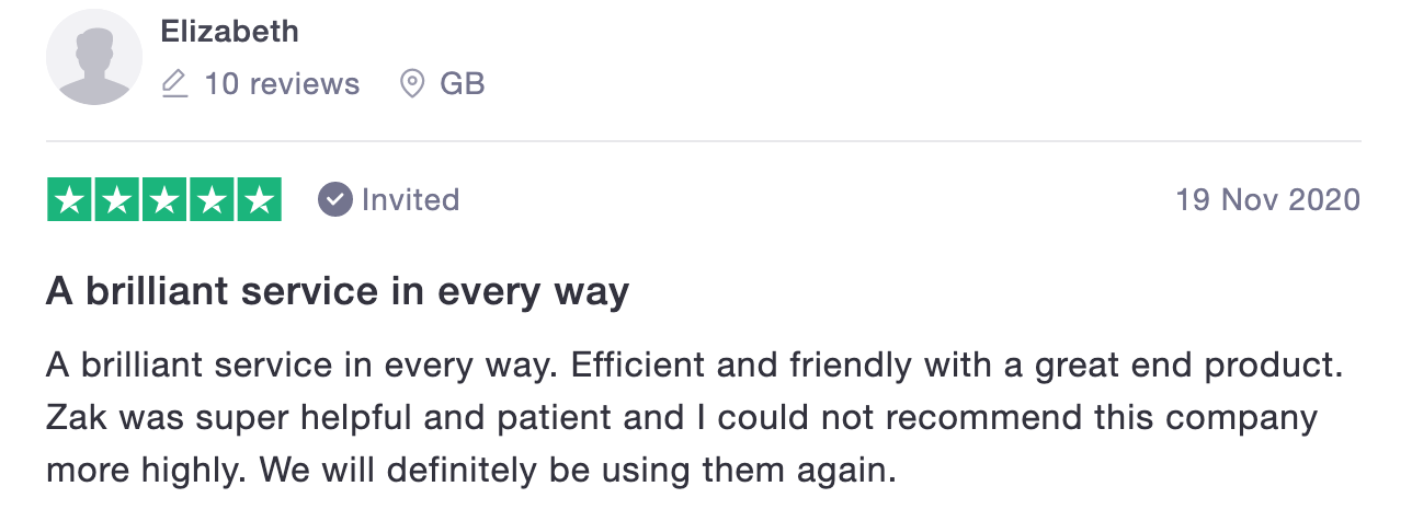 Trustpilot customer review.