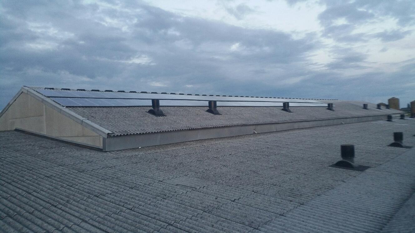 Grote installatie zonnepanelen op loods