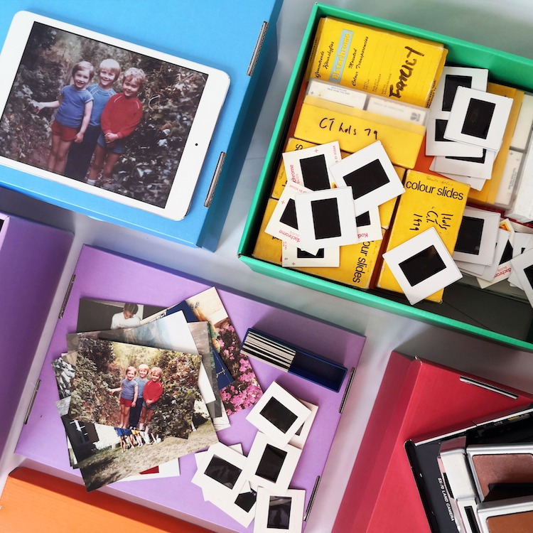 Image of an assortment of photographic material, relating to the scanning service on offer.