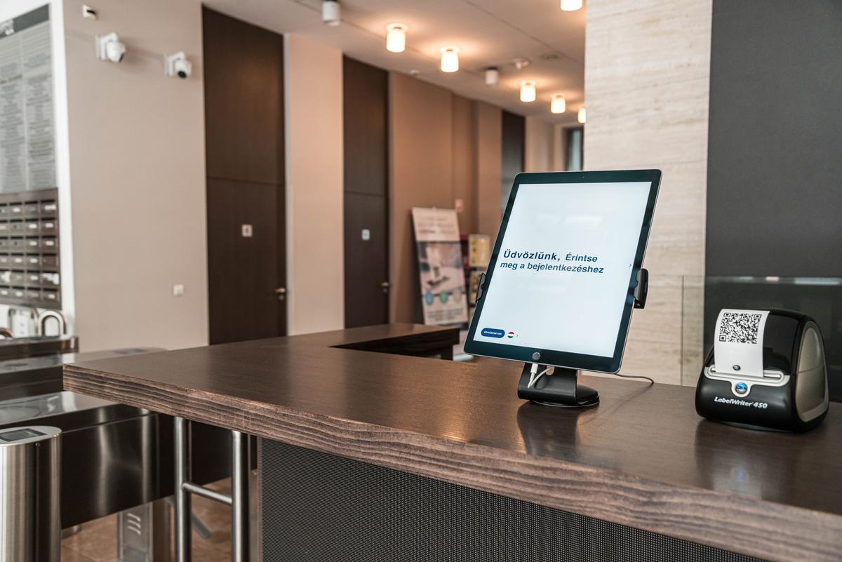 Reception desk with digital visitor management system
