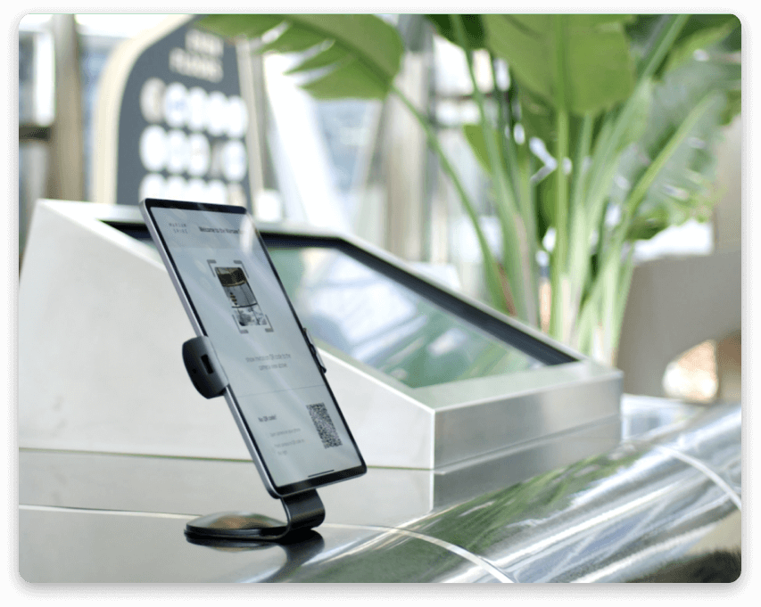 Touchless check in station at the reception desk in the modern office center