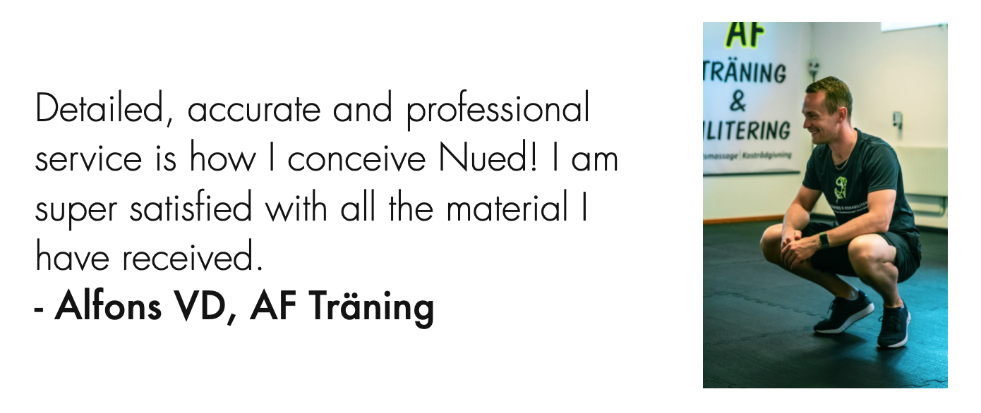 Alfons VD, AF Träning & Rehabilitering client quote.