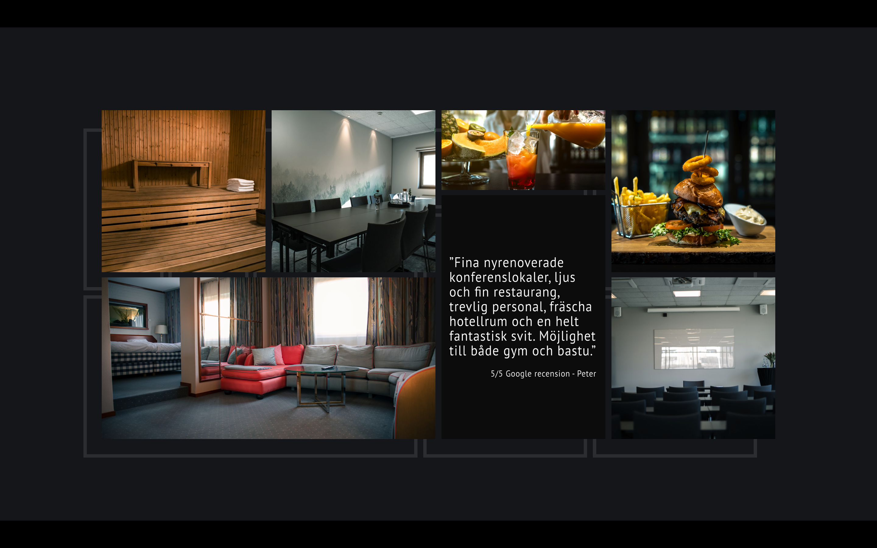 A collage of detail pictures taken at Hotel Scheele featuring their sauna, conference rooms, a fruity drink, a juice burger with bacon, their premium suit and a positive quote from a customer.