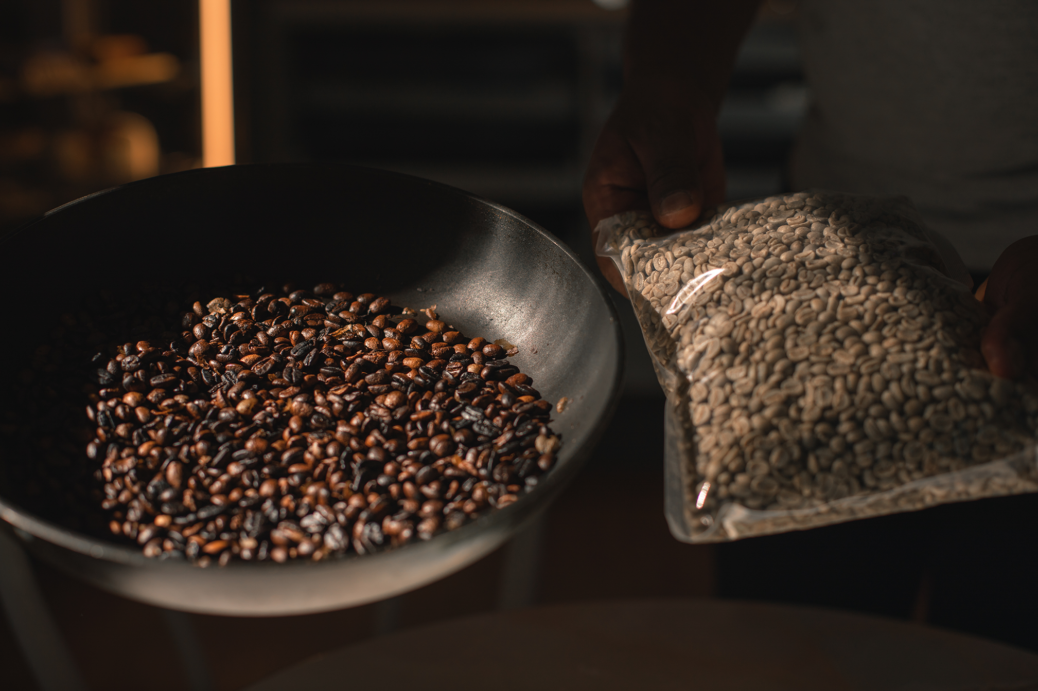 Eritrean Coffee beans being roasted.