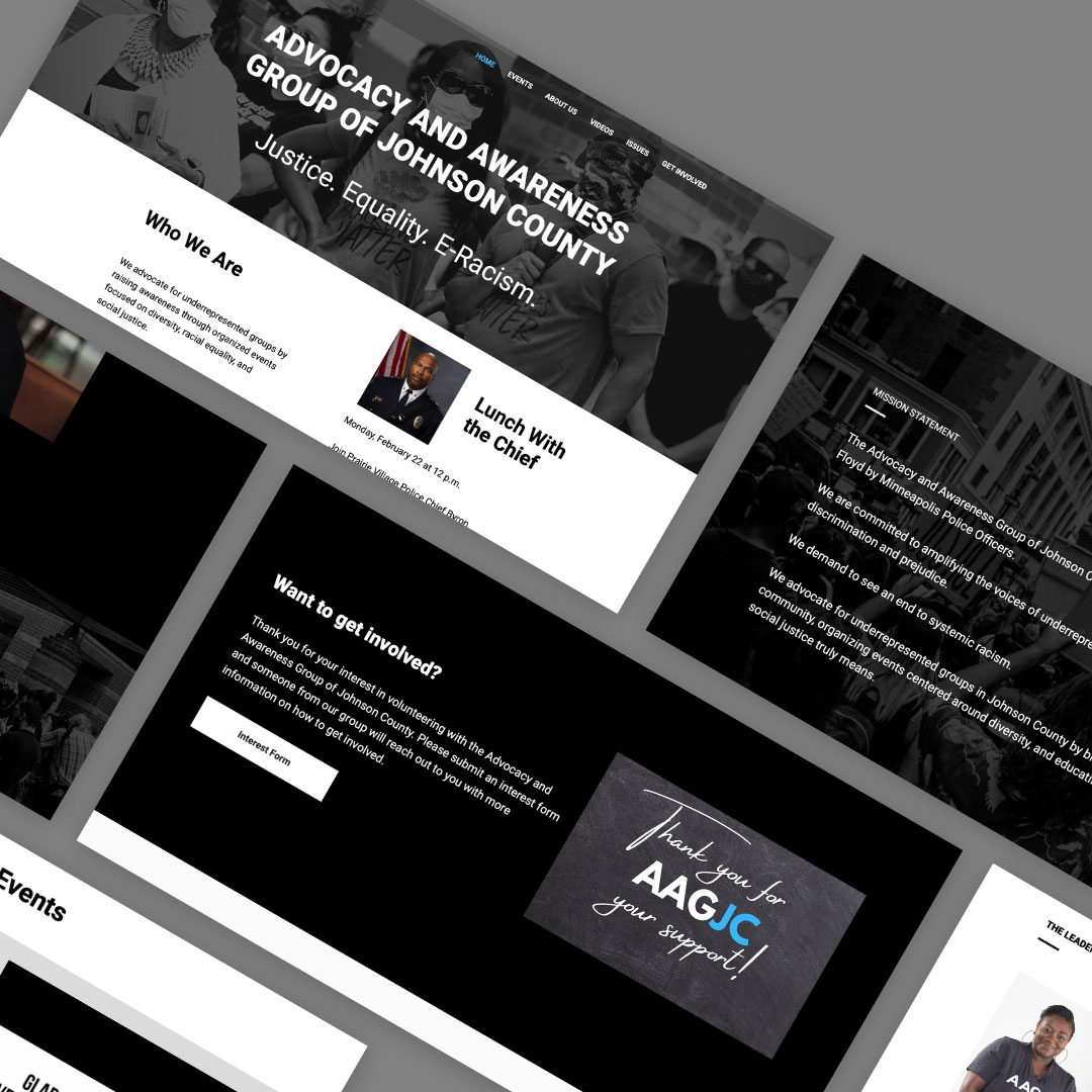 Website mockup of 6 screens from a past project