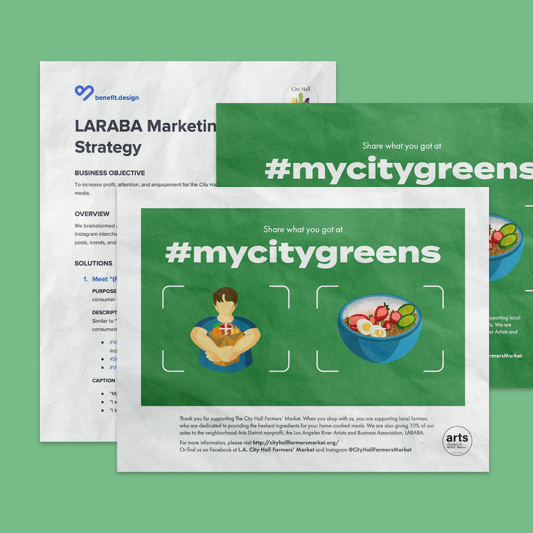 3 green flyers made for an organization about a farmers market