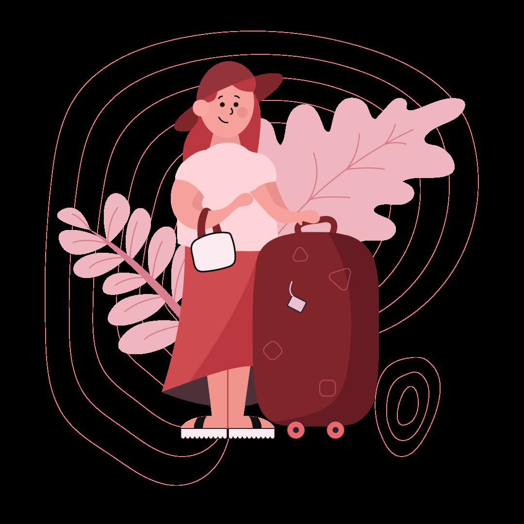 Turista con valigia attenta alla sua attività sostenibile