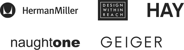 Herman Miller, Design Within Reach, HAY, naughtone, and Geiger brand logos
