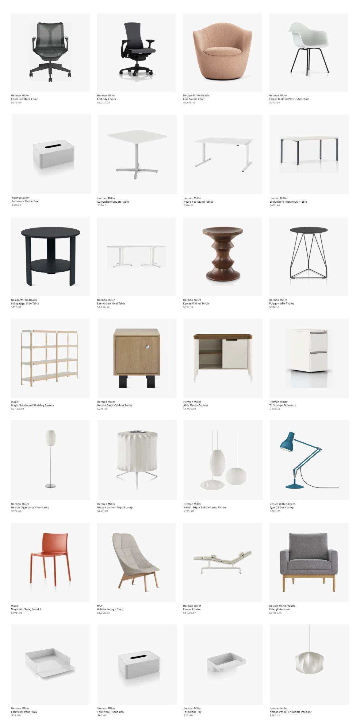A grid of Herman Miller Group products