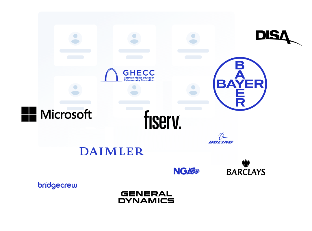 Image of the centers forming members by logos, DISA, Bayer, GHECC, Microsoft, fiserv, Boeing, Daimler, NGA, Barclays, Bridgecrew & General Dynamics