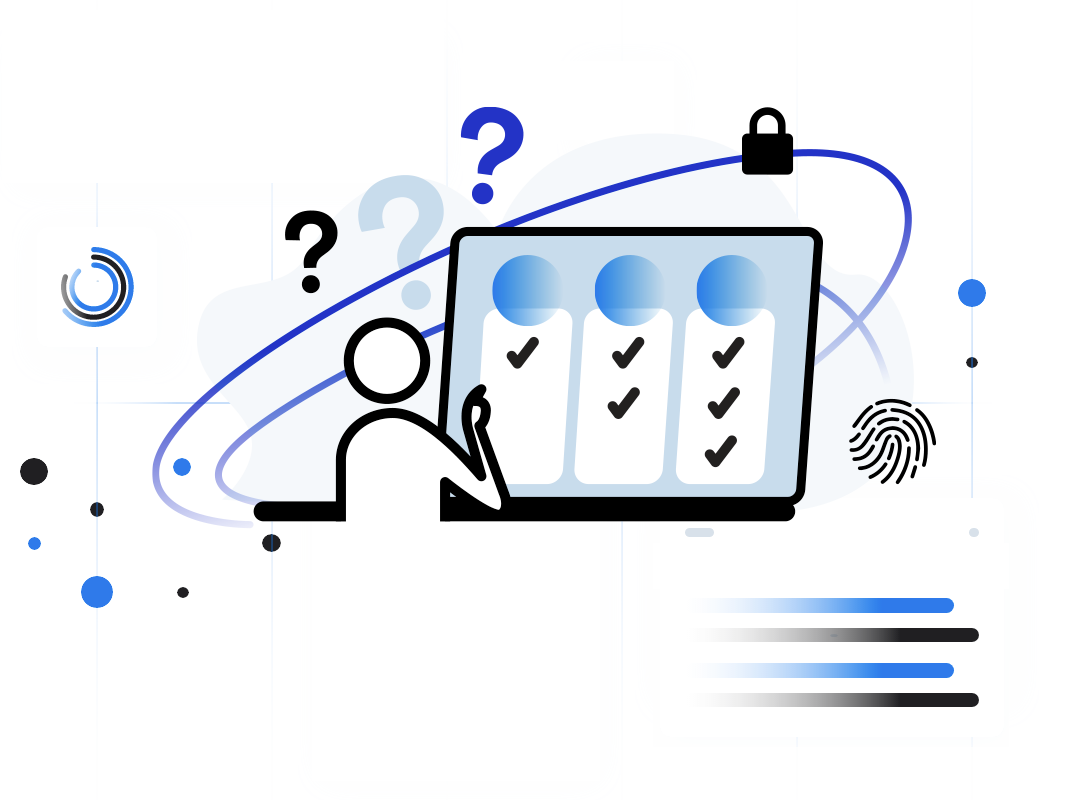 Illustration of a person making choices between several options on a computer with floating icons of security like thumbprints, locks and question marks.