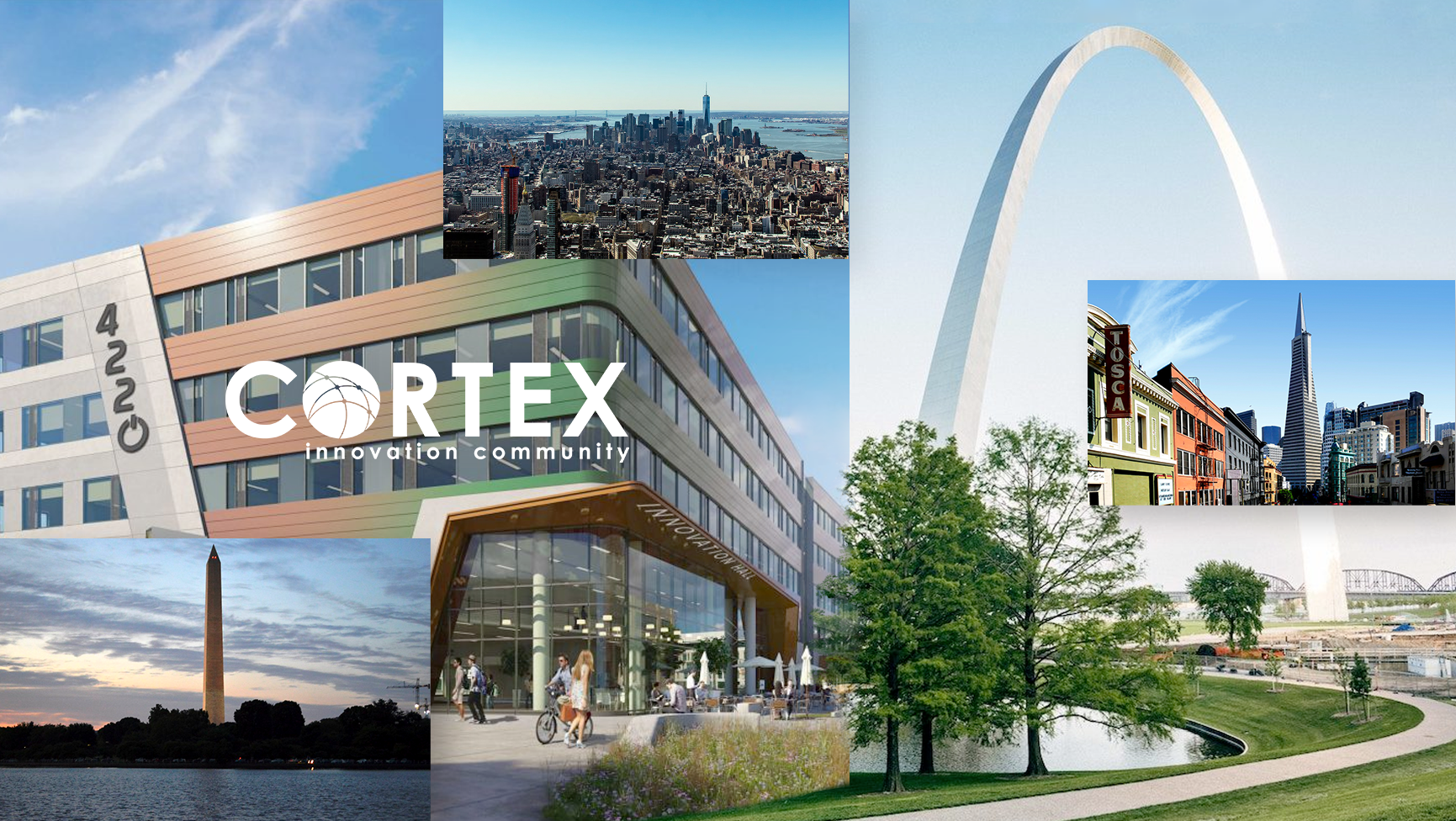 big image of the St. Louis arch and the Cortex building in St. Louis, with floating images of other city skylines with New York, San Francisco & Washington D.C.