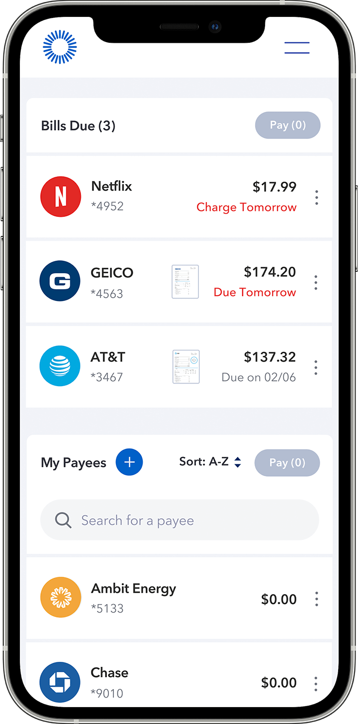 Quickly see and manage all bills in one place phone animation
