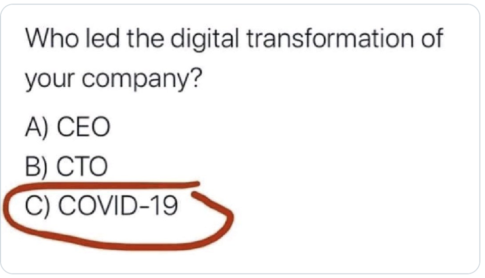 Who led the digital transformation of your company? COVID.