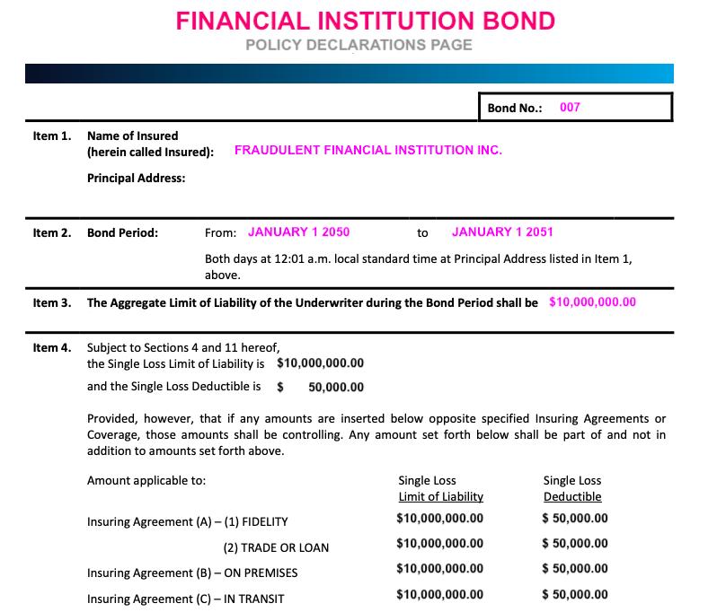 Sample Fidelity Bond coverage