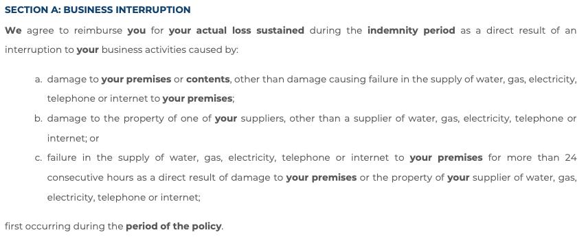 business interruption insurance wording