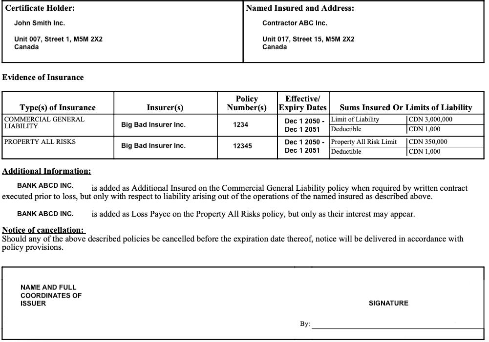 Sample Certificate of Insurance