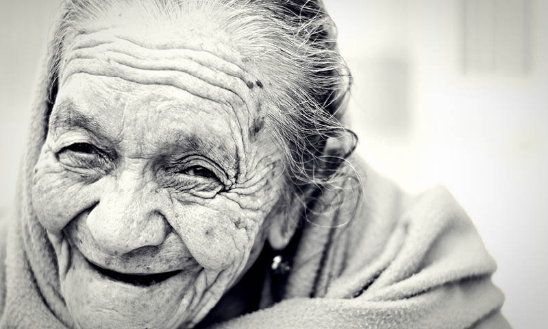 Old Lady with Mature Skin