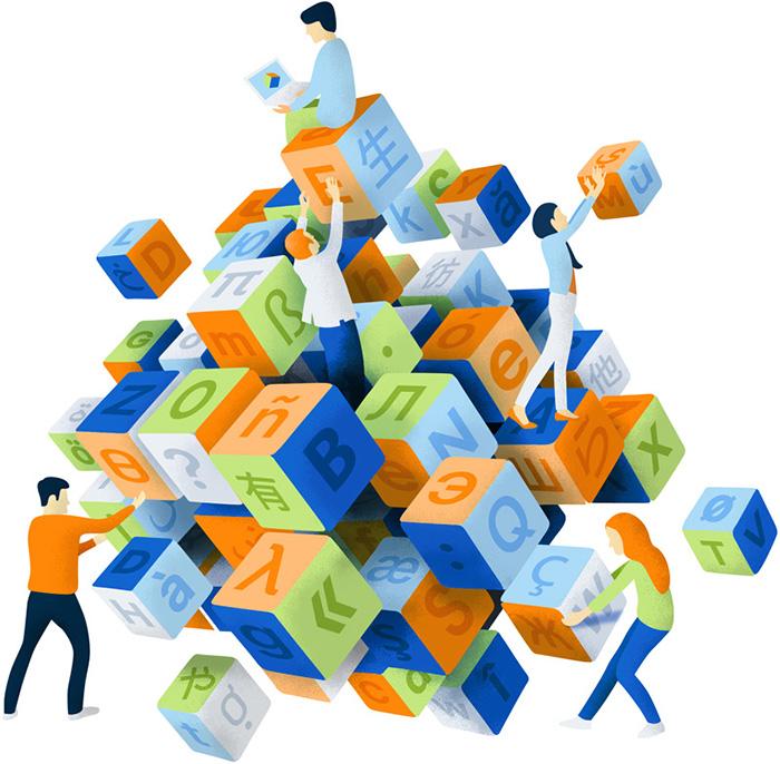 Illustration d'une équipe de traducteurs manipulant des cubes de type casses-tête linguistique