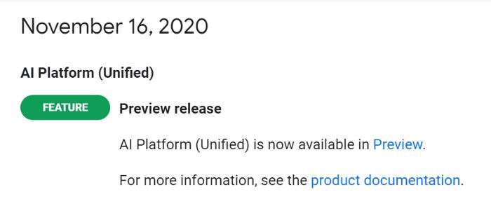 Figure 1: Release note Google