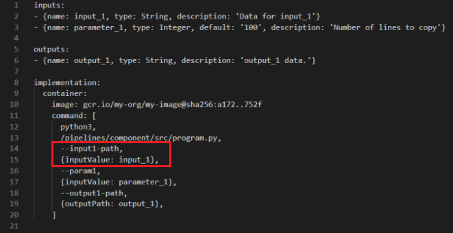 Old style component specification component.yaml file