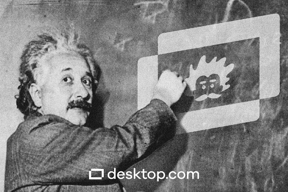 Albert Einstein draw the desktop.com logo and the Albot avatar