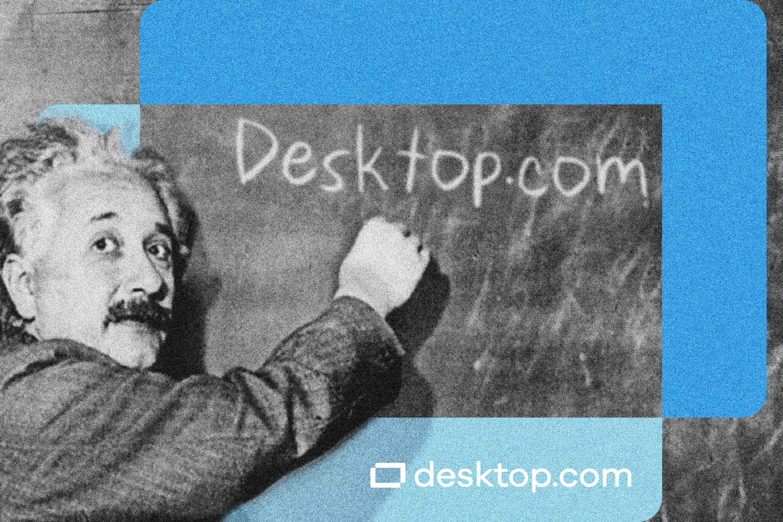 """Albert Einstein writes """"Desktop.com"""" on a blackboard"""