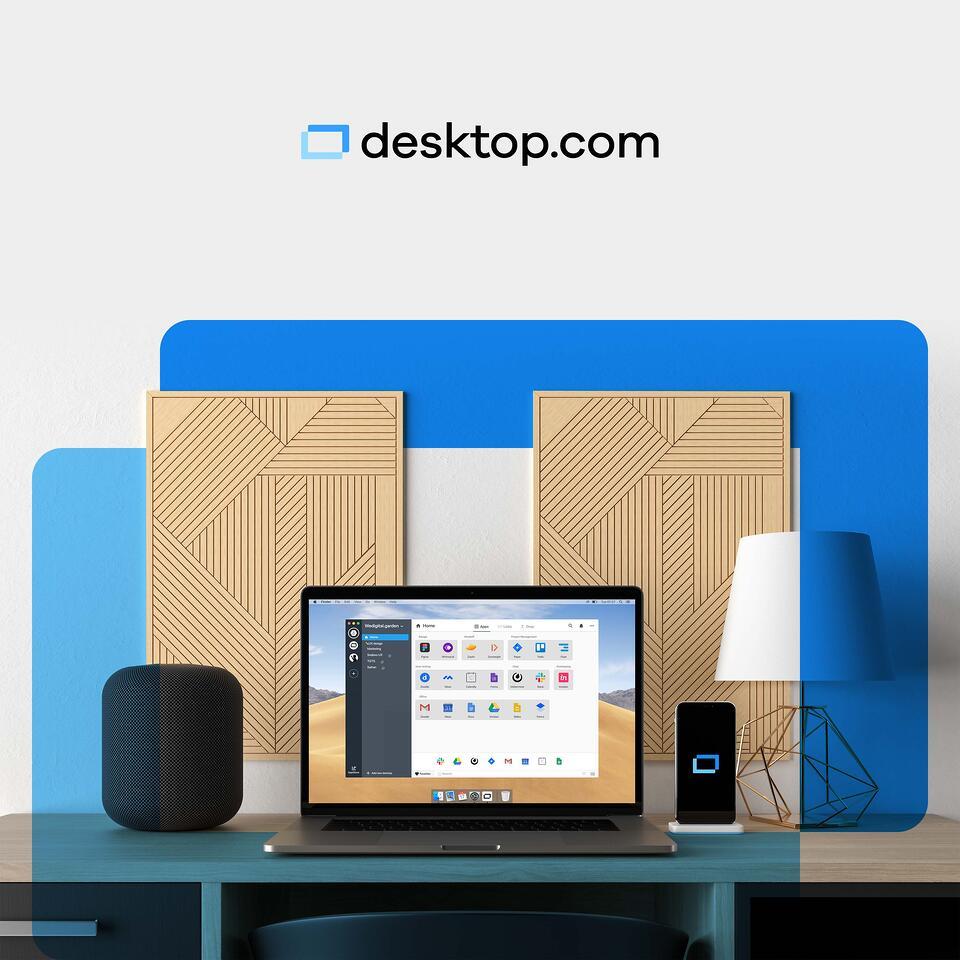 the desktop.com app visible on a laptop screen