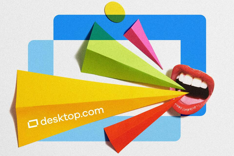 Mouth shouts colorful plumes with the desktop.com logo superimposed in the background