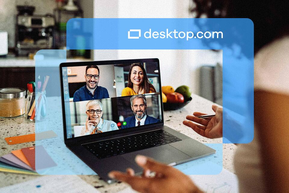 Computer screen with video meeting taking place