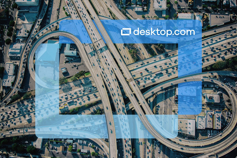 the Desktop.com logo superimposed on a highway network