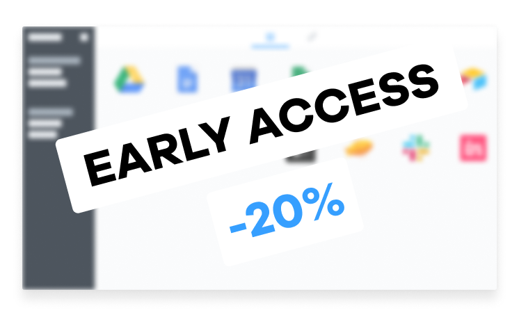 Early access 20% message on top of the desktop.com app window