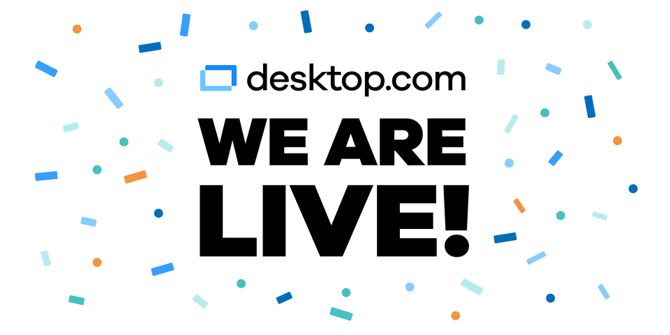 desktop.com logo with a background of confetti