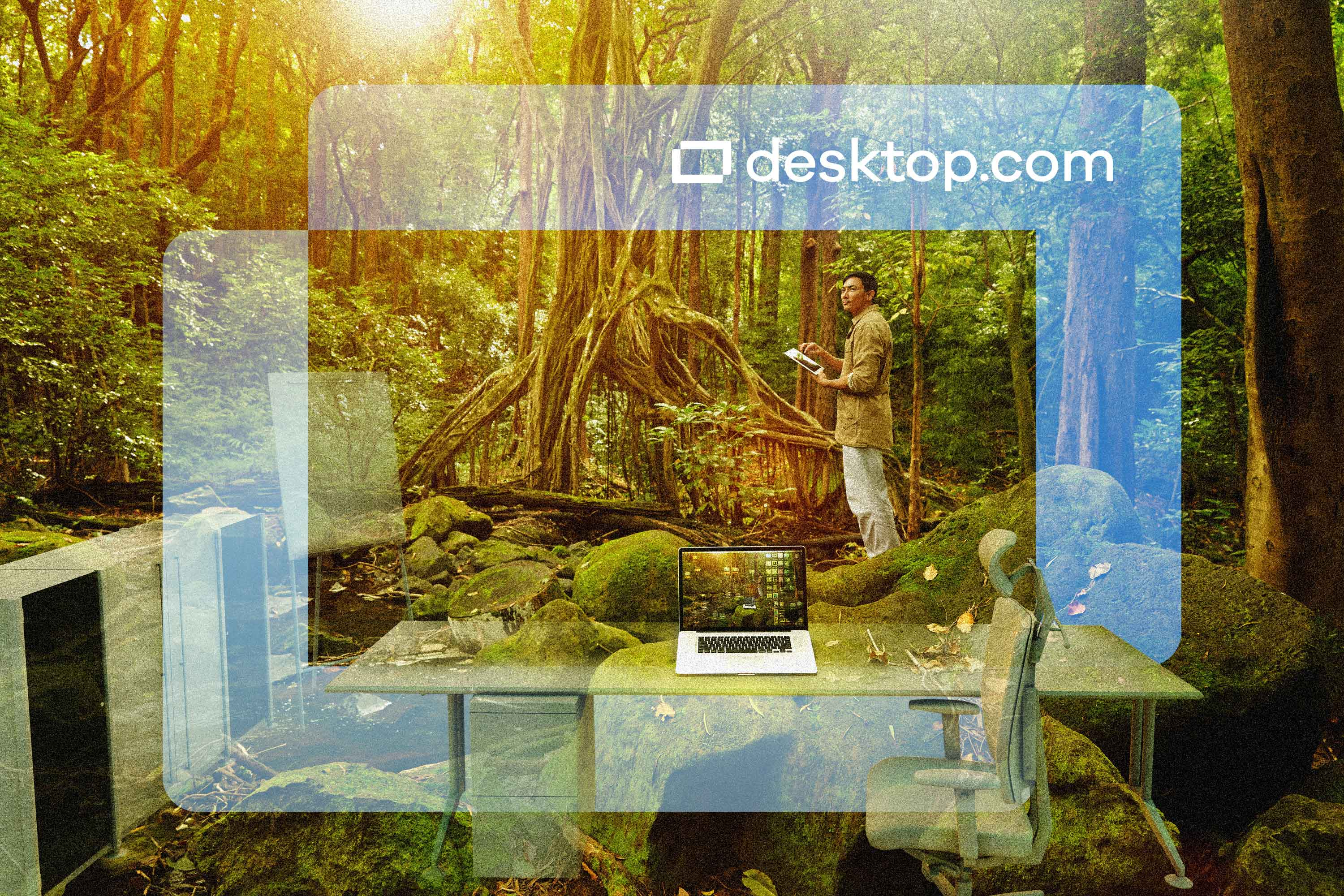 Man stands in a rainforest with an office superimposed in the foreground