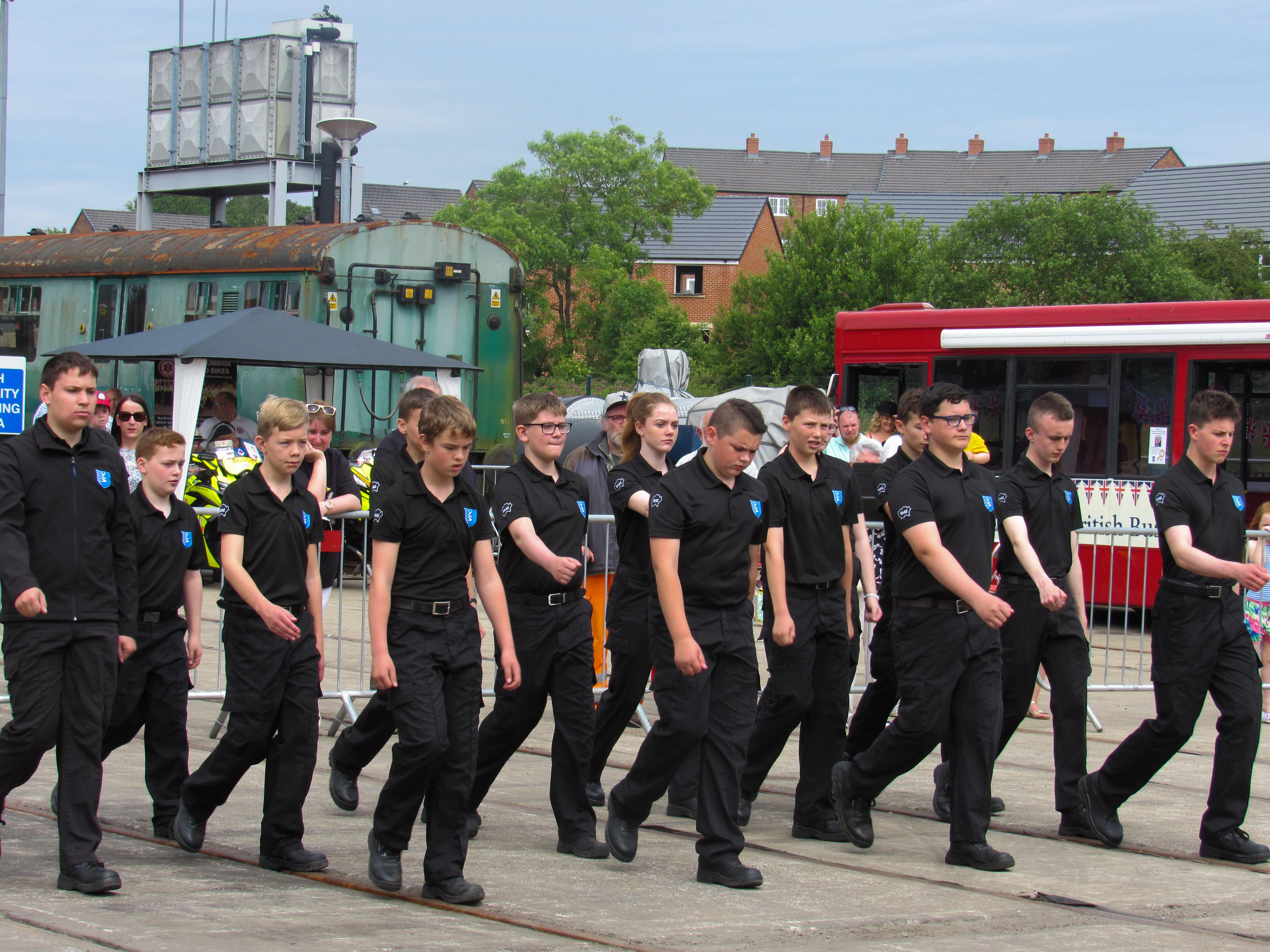 police cadets marching